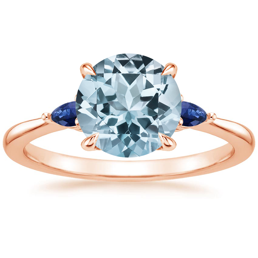 Rose Gold Aquamarine Aria Ring with Sapphire Accents
