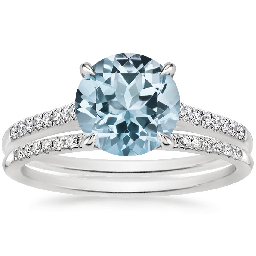 18KW Aquamarine Lissome Diamond Ring (1/10 ct. tw.) with Whisper Diamond Ring, top view