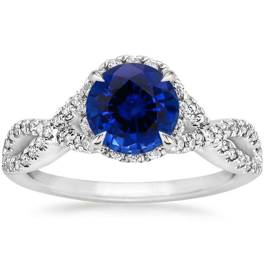 Sapphire Entwined Halo Diamond Ring (1/3 ct. tw.) in Platinum