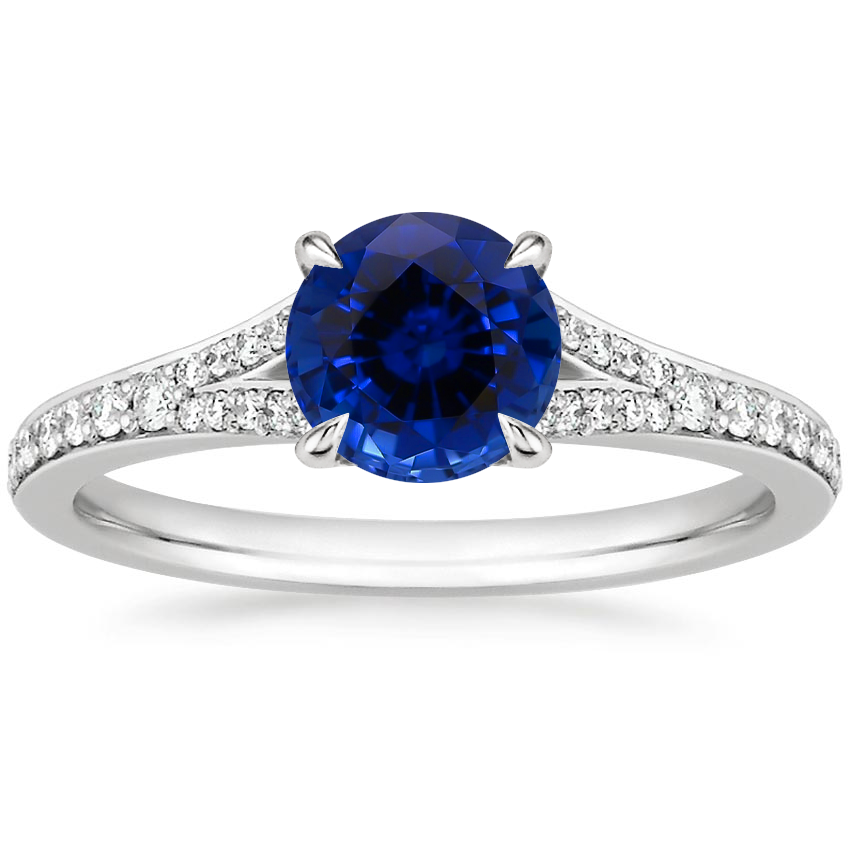 Sapphire Duet Diamond Ring in 18K White Gold