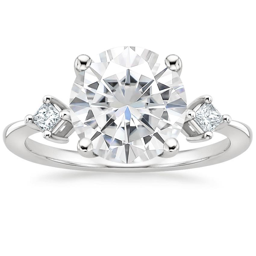 Moissanite Tria Diamond Ring in Platinum