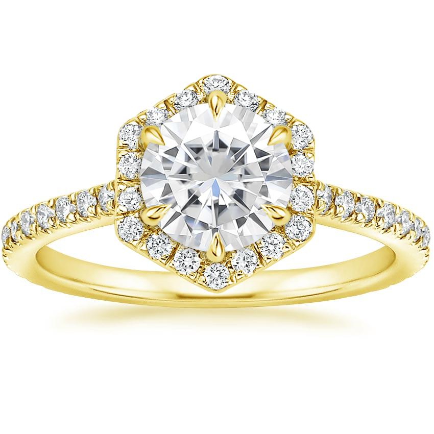 Yellow Gold Moissanite Sonnet Diamond Ring (1/3 ct. tw.)