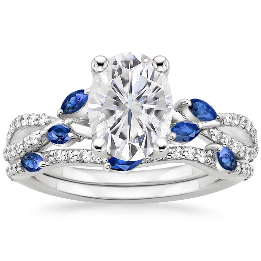 18KW Moissanite Luxe Willow Sapphire and Diamond Bridal Set (1/4 ct. tw.), top view