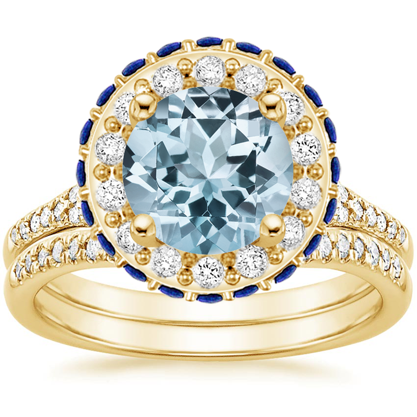 18KY Aquamarine Circa Diamond Bridal Set with Sapphire Accents (1/3 ct. tw.), top view