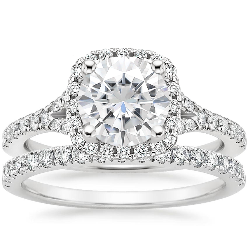 18KW Moissanite Joy Diamond Ring (1/3 ct. tw.) with Bliss Diamond Ring (1/5 ct. tw.), top view