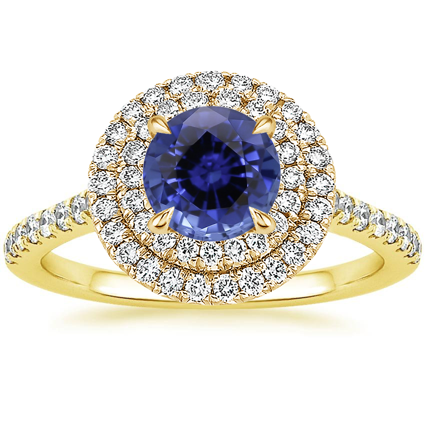 Yellow Gold Sapphire Soleil Diamond Ring (1/2 ct. tw.)