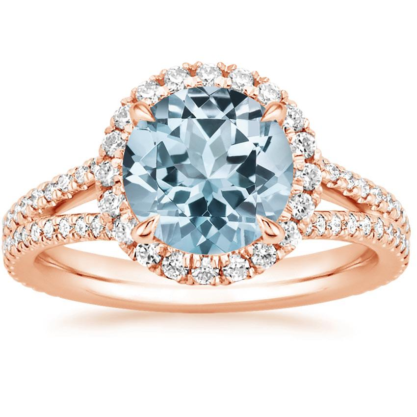 Rose Gold Aquamarine Fortuna Diamond Ring (1/2 ct. tw.)