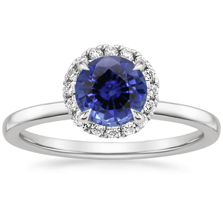 Sapphire Vienna Diamond Ring in 18K White Gold