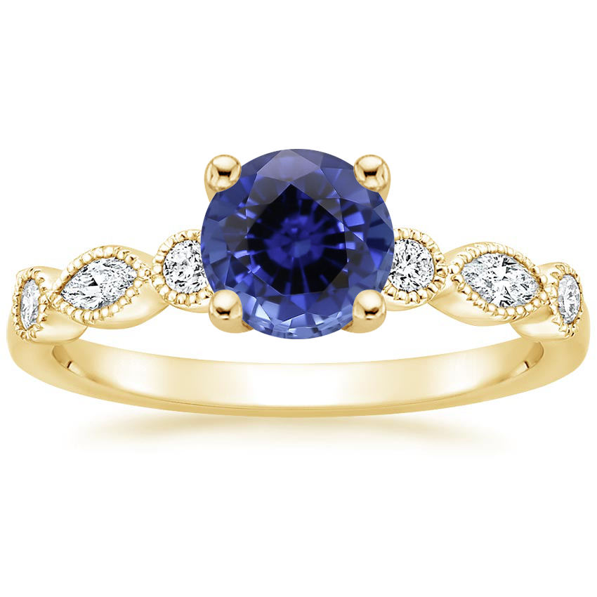 Yellow Gold Sapphire Rosalie Diamond Ring (1/4 ct. tw.)