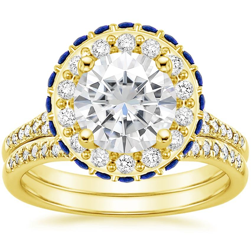 18KY Moissanite Circa Diamond Bridal Set with Sapphire Accents (1/3 ct. tw.), top view