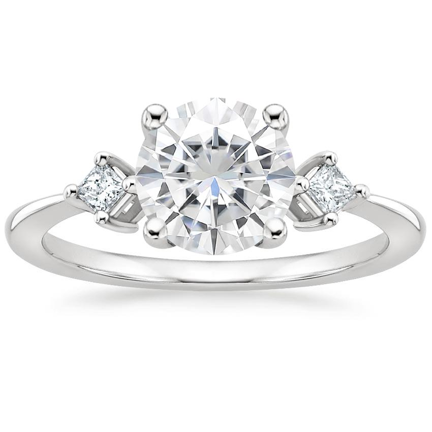 Moissanite Tria Diamond Ring in 18K White Gold