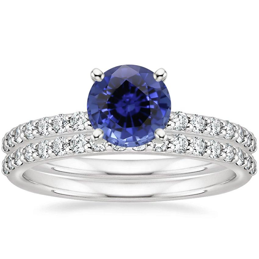 18KW Sapphire Petite Shared Prong Bridal Set (1/2 ct. tw.), top view