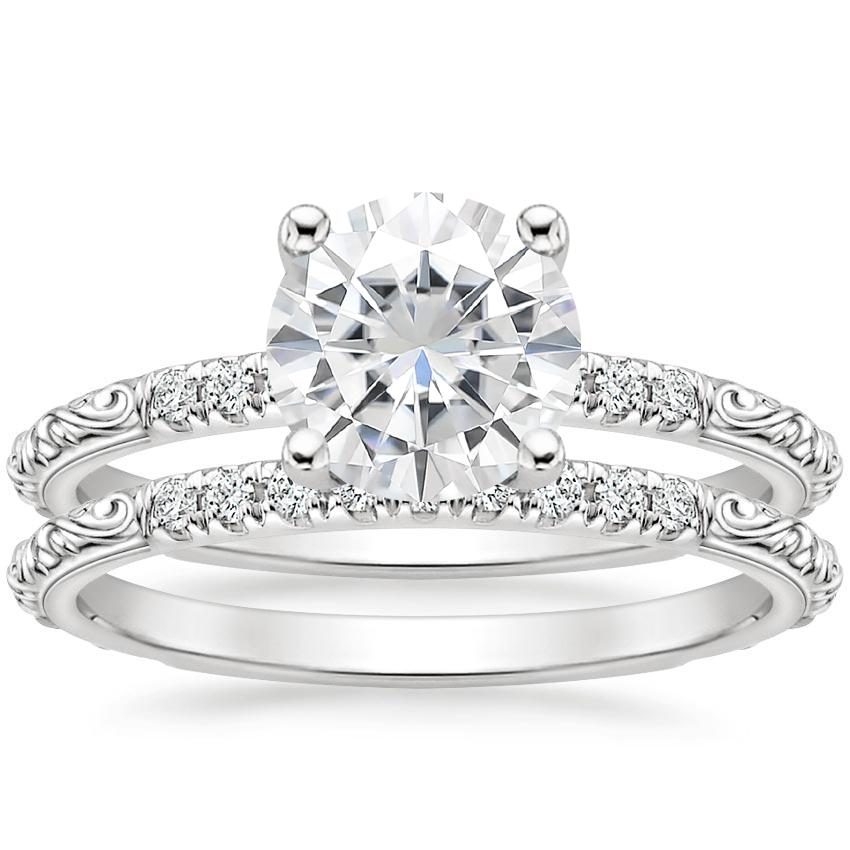 18KW Moissanite Adeline Diamond Bridal Set, top view