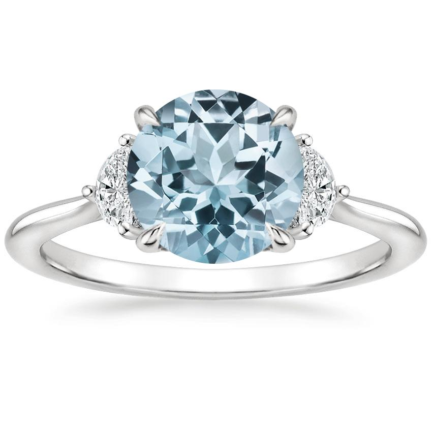 Aquamarine Half Moon Diamond Ring in 18K White Gold
