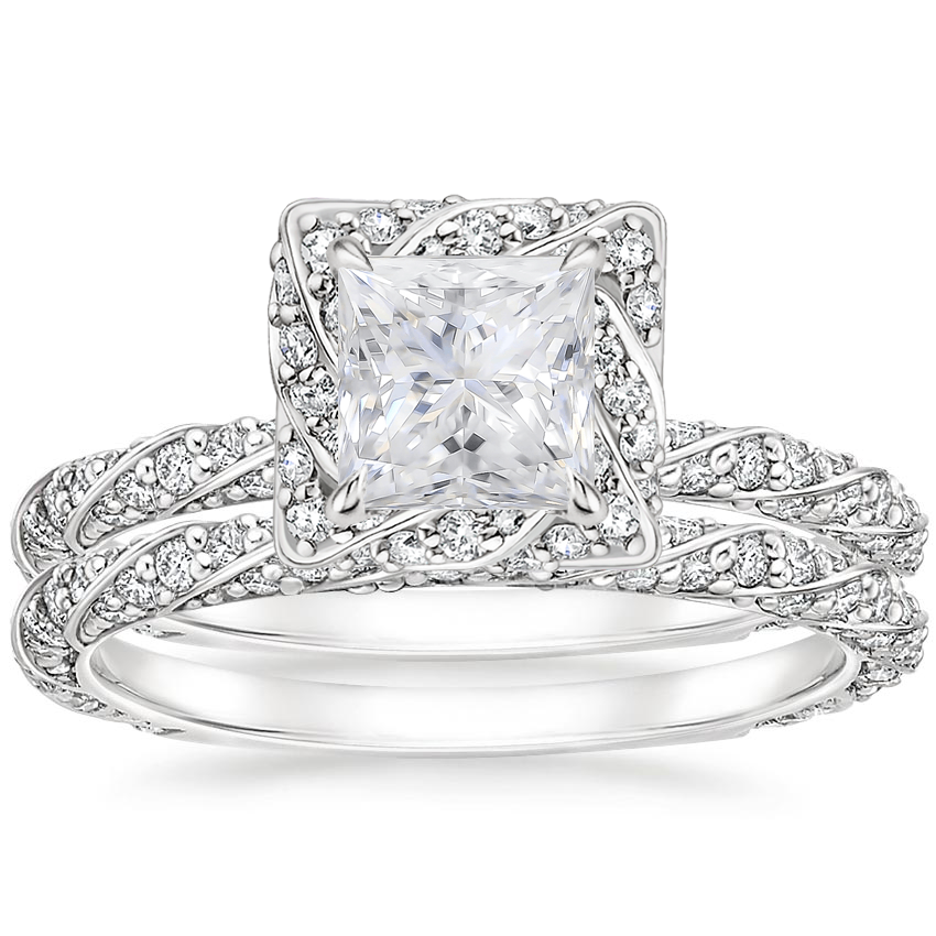 18KW Moissanite Nova Diamond Bridal Set (3/4 ct. tw.), top view