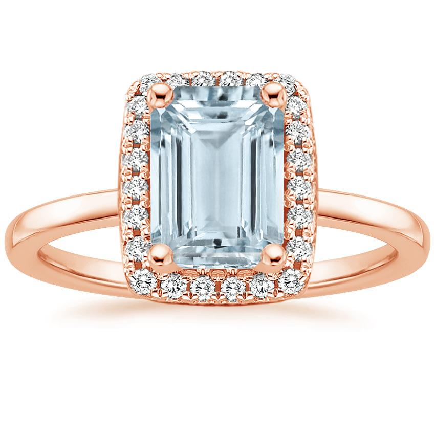 Rose Gold Aquamarine French Halo Diamond Ring