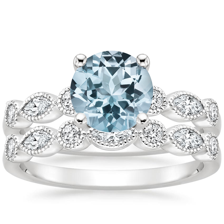 18KW Aquamarine Rosalie Diamond Bridal Set (1/2 ct. tw.), top view