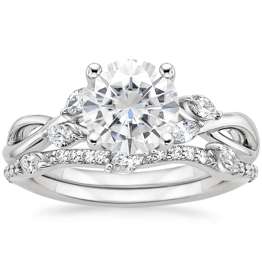 18KW Moissanite Willow Diamond Ring (1/8 ct. tw.) with Luxe Willow Diamond Wedding Ring (1/5 ct. tw.), top view