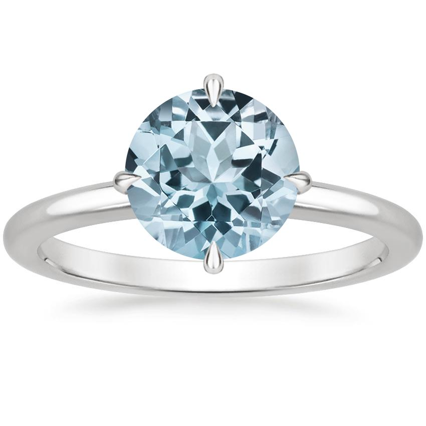 Aquamarine North Star Ring in 18K White Gold