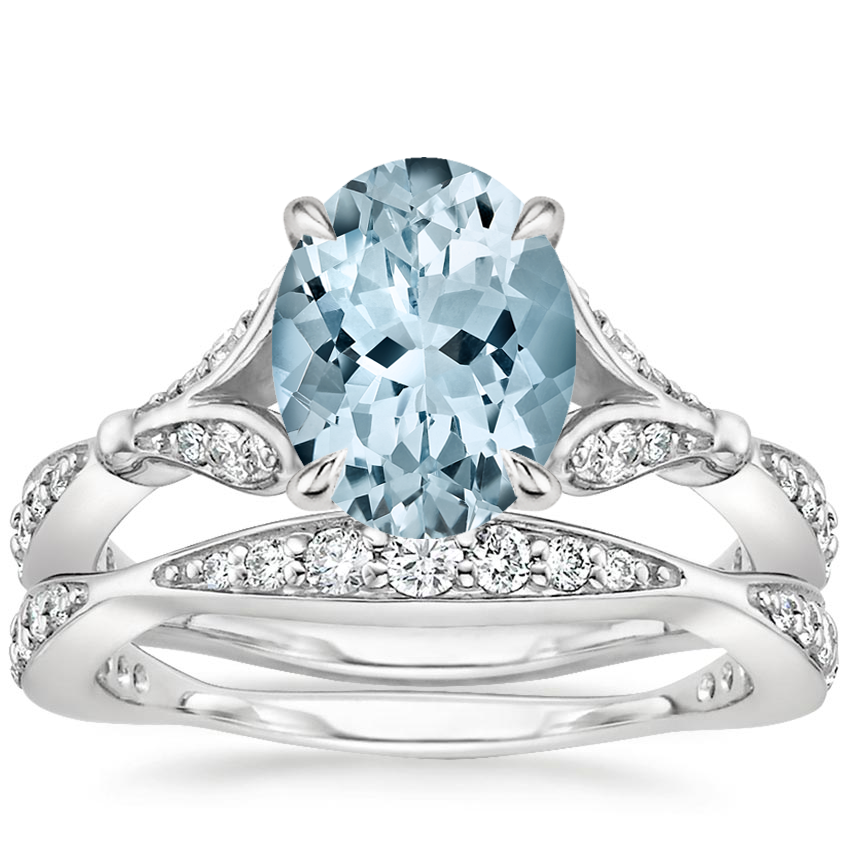 18KW Aquamarine Zinnia Diamond Bridal Set (1/2 ct. tw.), top view