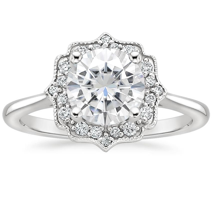 Moissanite Coralie Diamond Ring in 18K White Gold