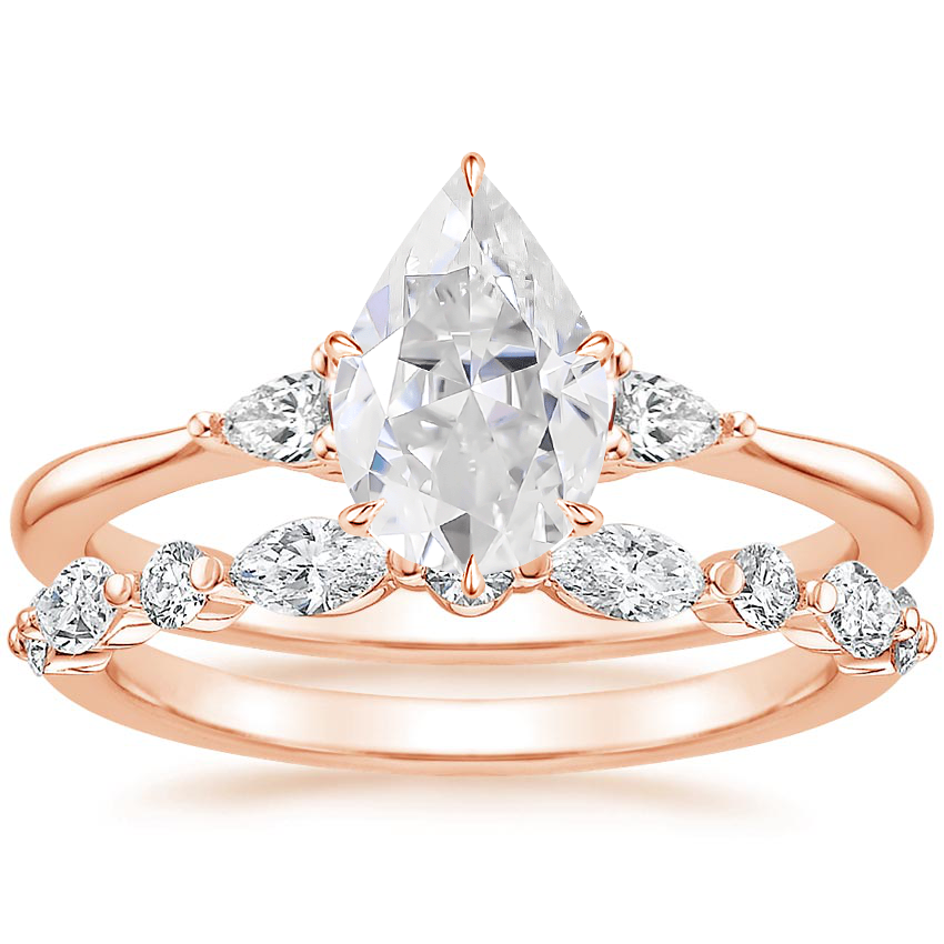14KR Moissanite Aria Diamond Ring (1/10 ct. tw.) with Versailles Diamond Ring (3/8 ct. tw.), top view