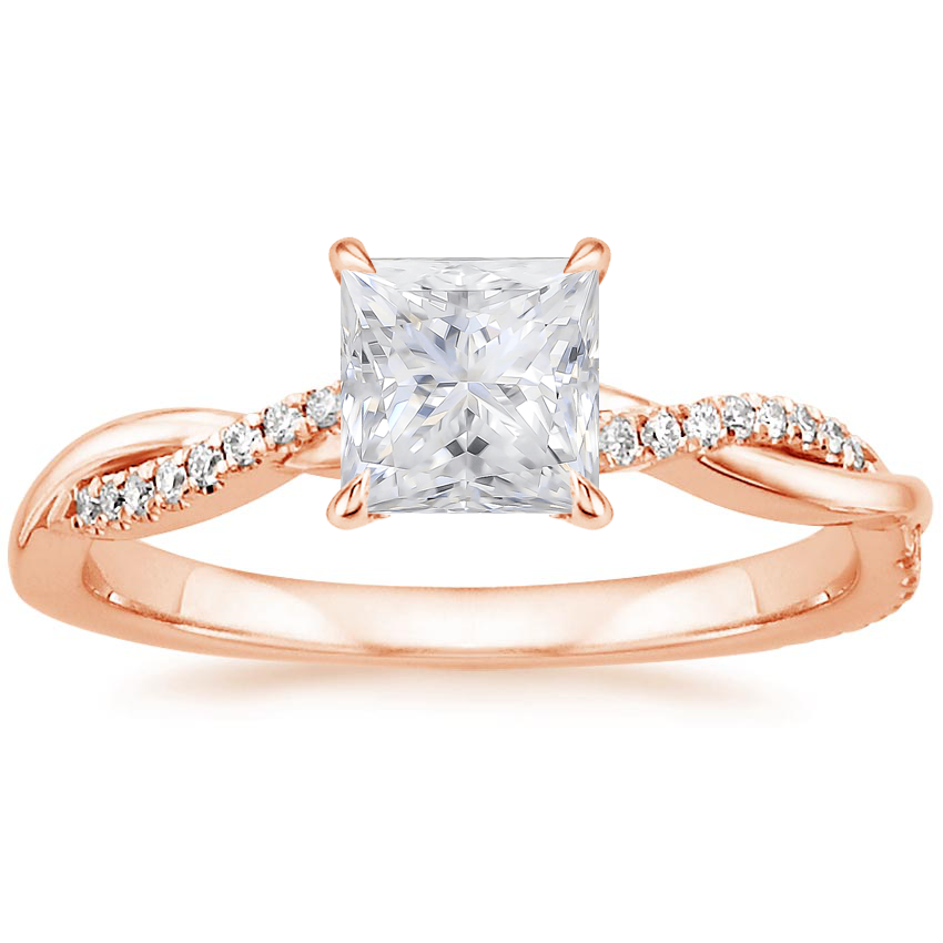 Rose Gold Moissanite Petite Twisted Vine Diamond Ring (1/8 ct. tw.)