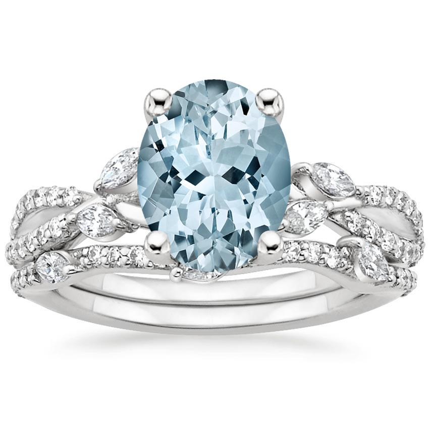 18KW Aquamarine Luxe Willow Bridal Set (1/2 ct. tw.), top view