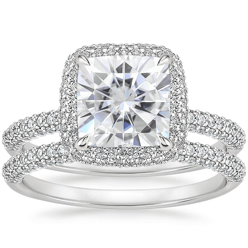 18KW Moissanite Valencia Halo Diamond Bridal Set, top view