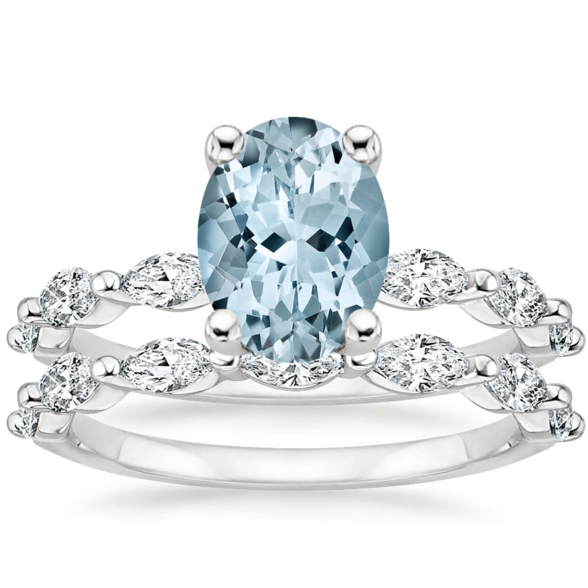 18KW Aquamarine Joelle Diamond Bridal Set (3/4 ct. tw.), top view