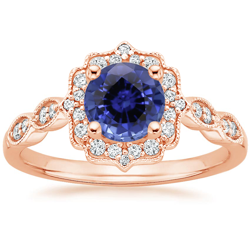 Rose Gold Sapphire Cadenza Halo Diamond Ring
