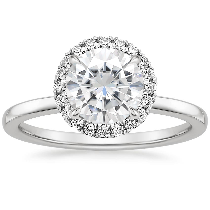 Moissanite Vienna Diamond Ring in 18K White Gold