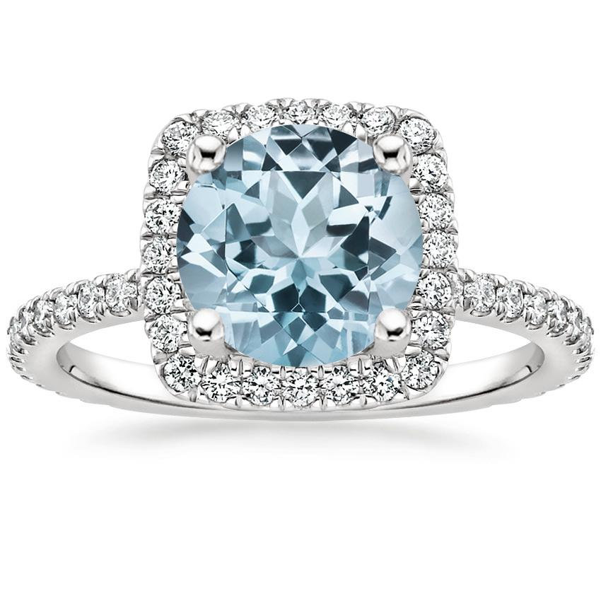 Aquamarine Giselle Diamond Ring (1/2 ct. tw.) in 18K White Gold
