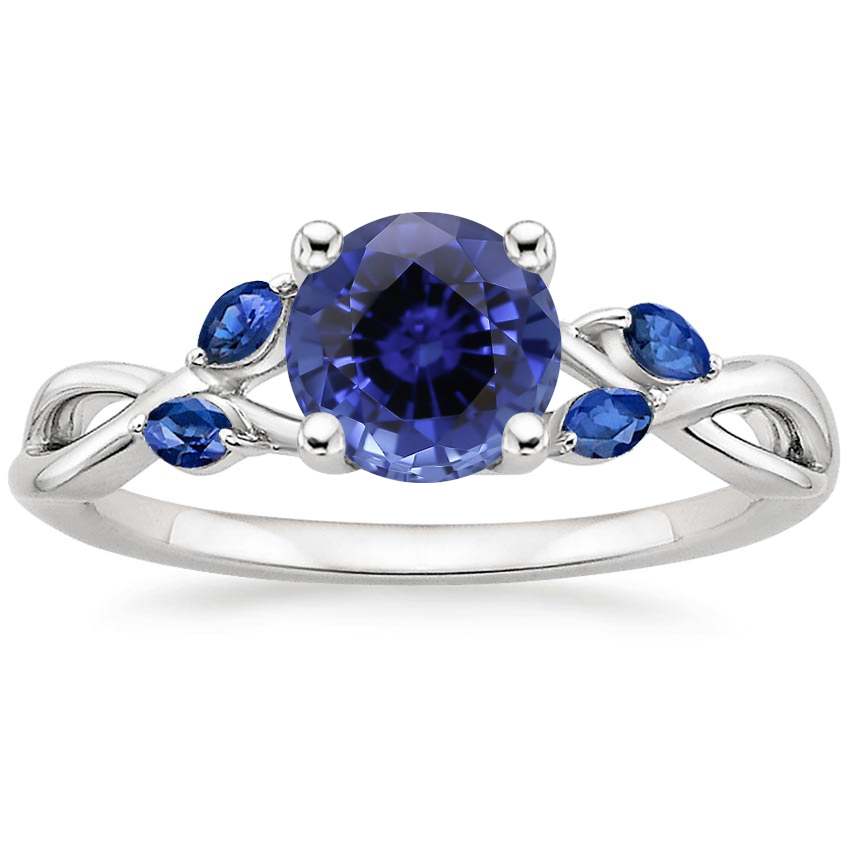Sapphire Willow Ring With Sapphire Accents in 18K White Gold