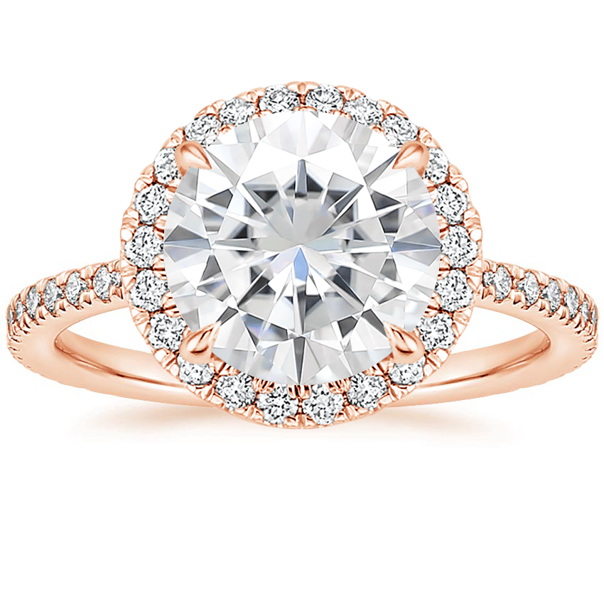 Rose Gold Moissanite Luxe Ballad Halo Diamond Ring (1/3 ct. tw.)