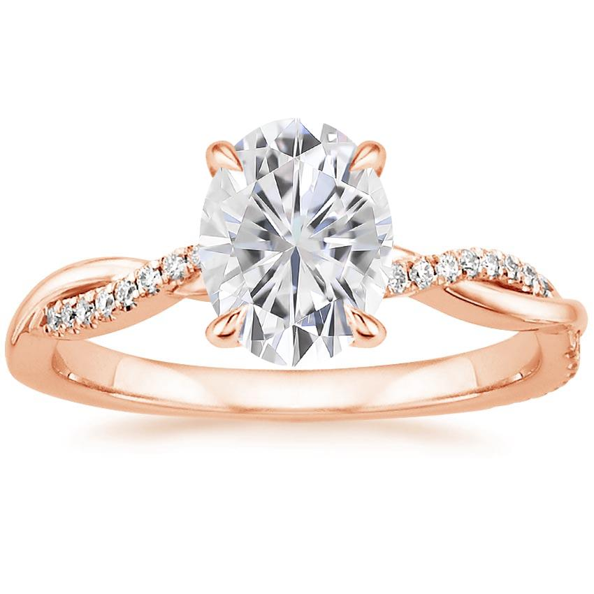Rose Gold Moissanite Petite Twisted Vine Diamond Ring