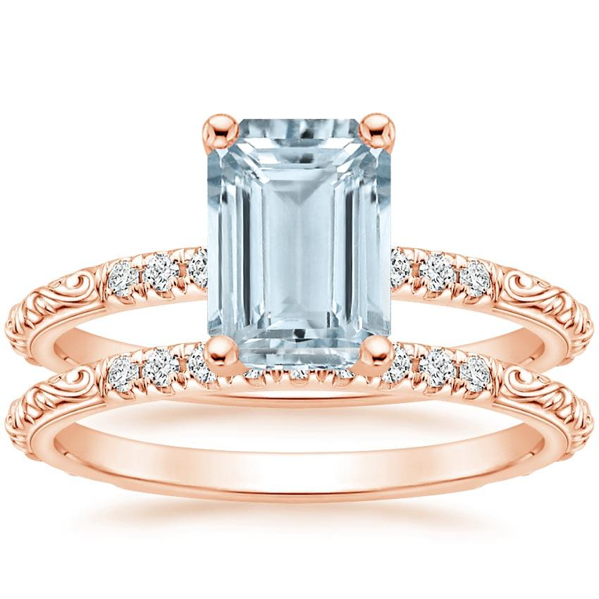14KR Aquamarine Adeline Diamond Bridal Set, top view