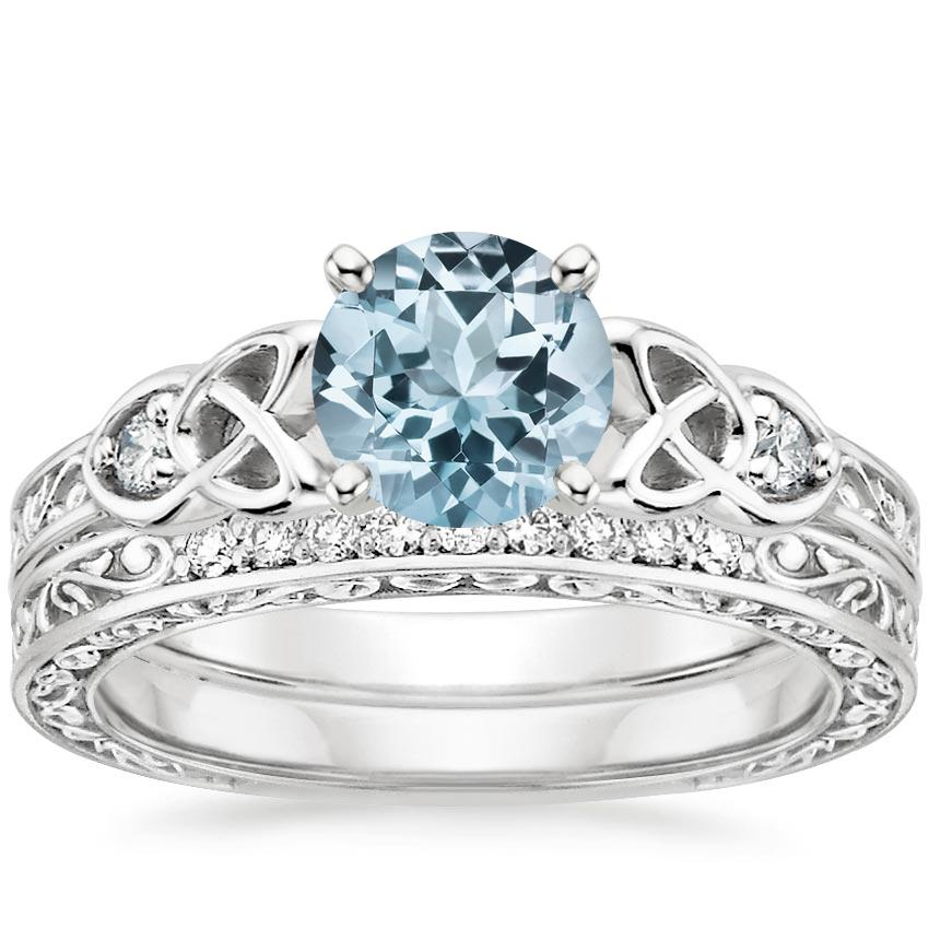 PT Aquamarine Aberdeen Diamond Bridal Set, top view