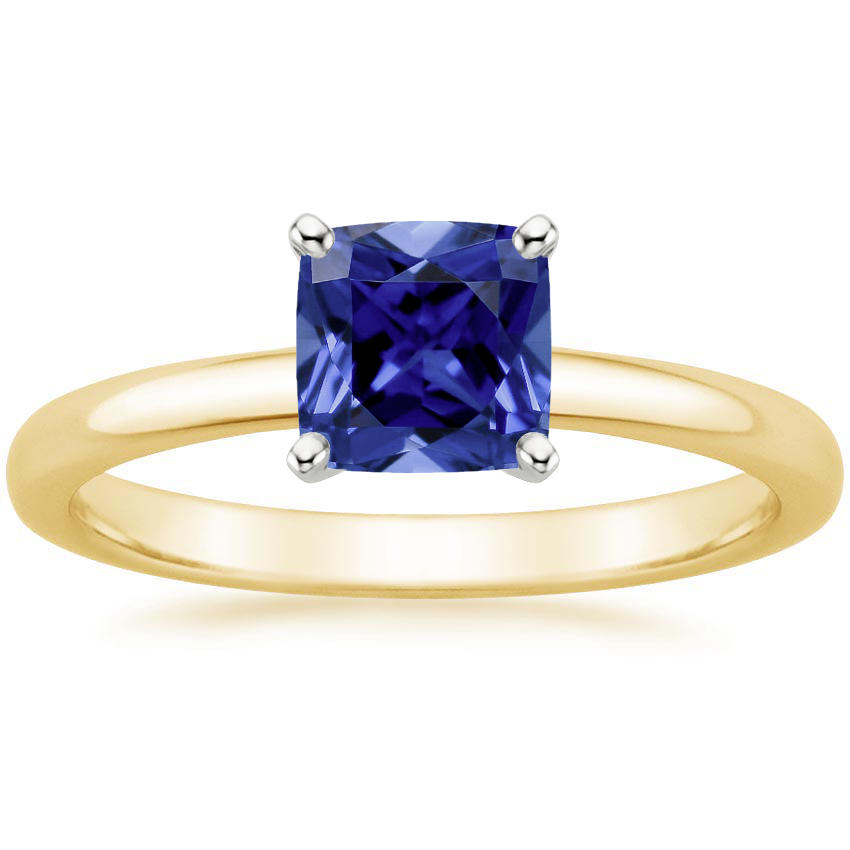 Yellow Gold Sapphire 2mm Comfort Fit Ring