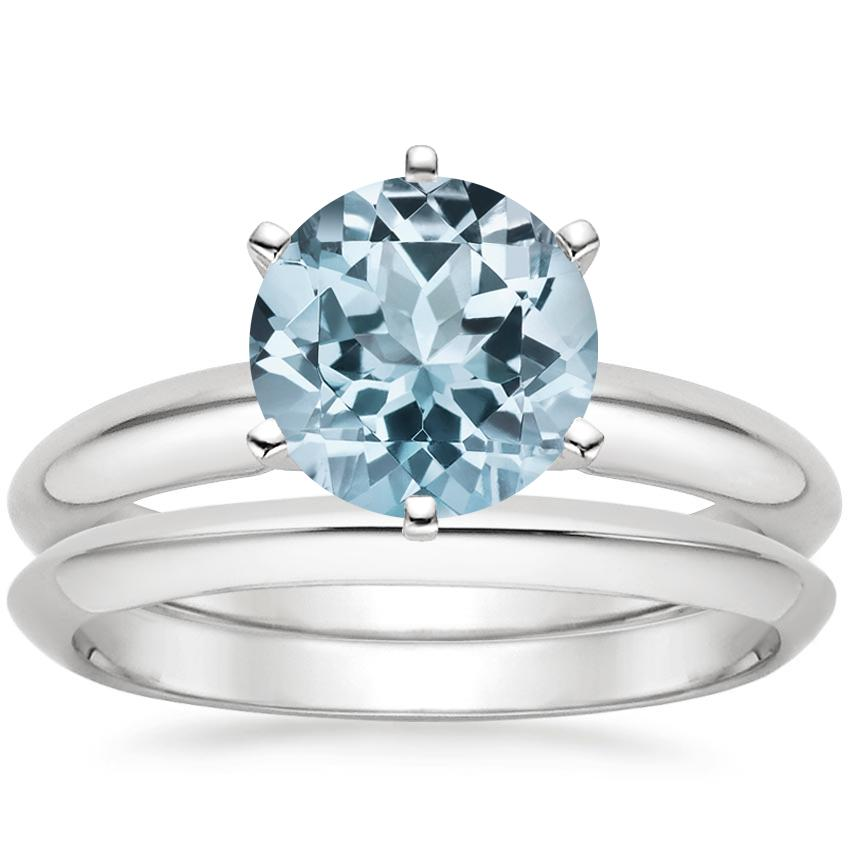 18KW Aquamarine Six-Prong Classic Bridal Set, top view