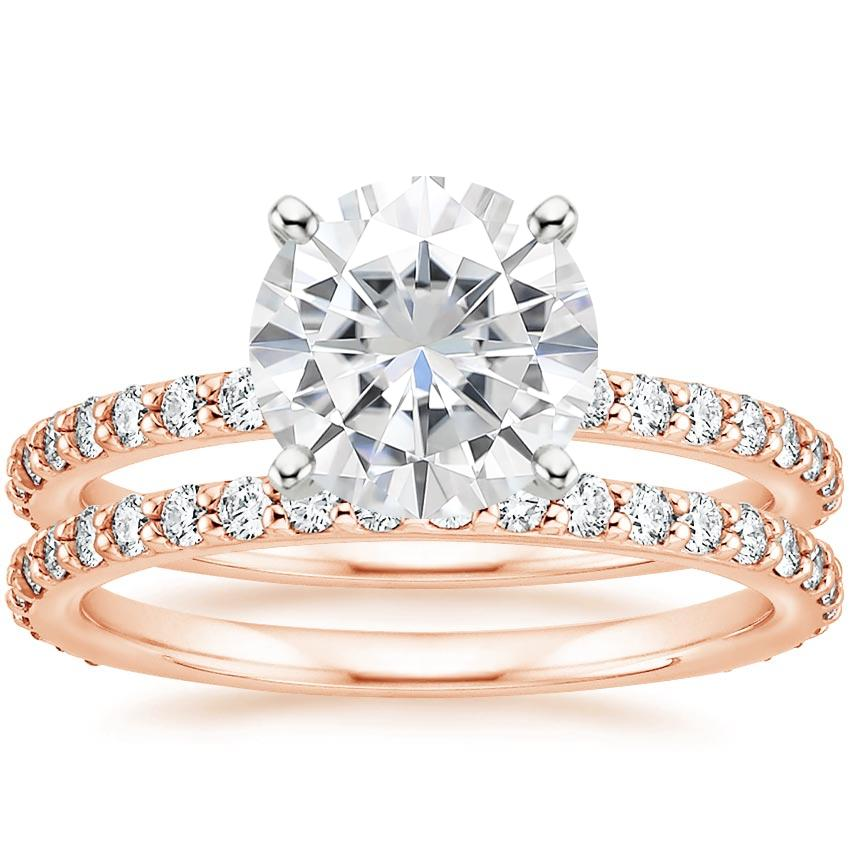 14KR Moissanite Luxe Petite Shared Prong Diamond Bridal Set (3/4 ct. tw.), top view