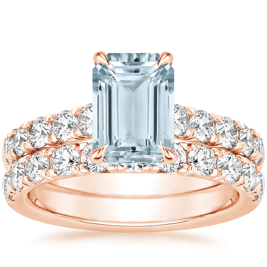 14KR Aquamarine Luxe Anthology Bridal Set (1 1/5 ct. tw.), top view