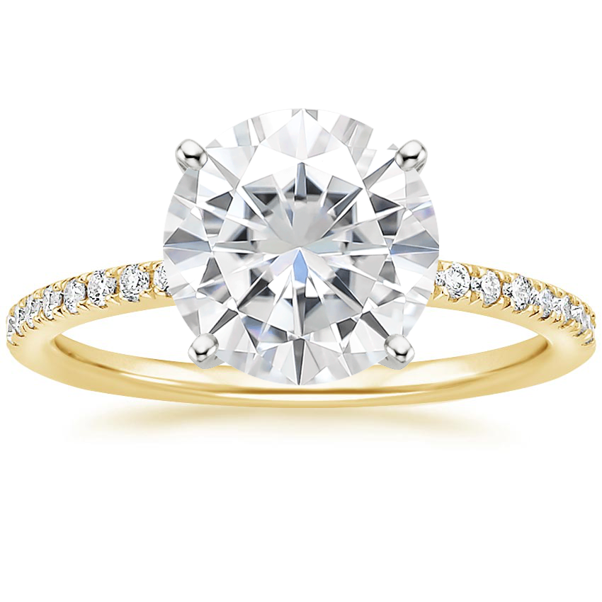 Yellow Gold Moissanite Ballad Diamond Ring (1/8 ct. tw.)