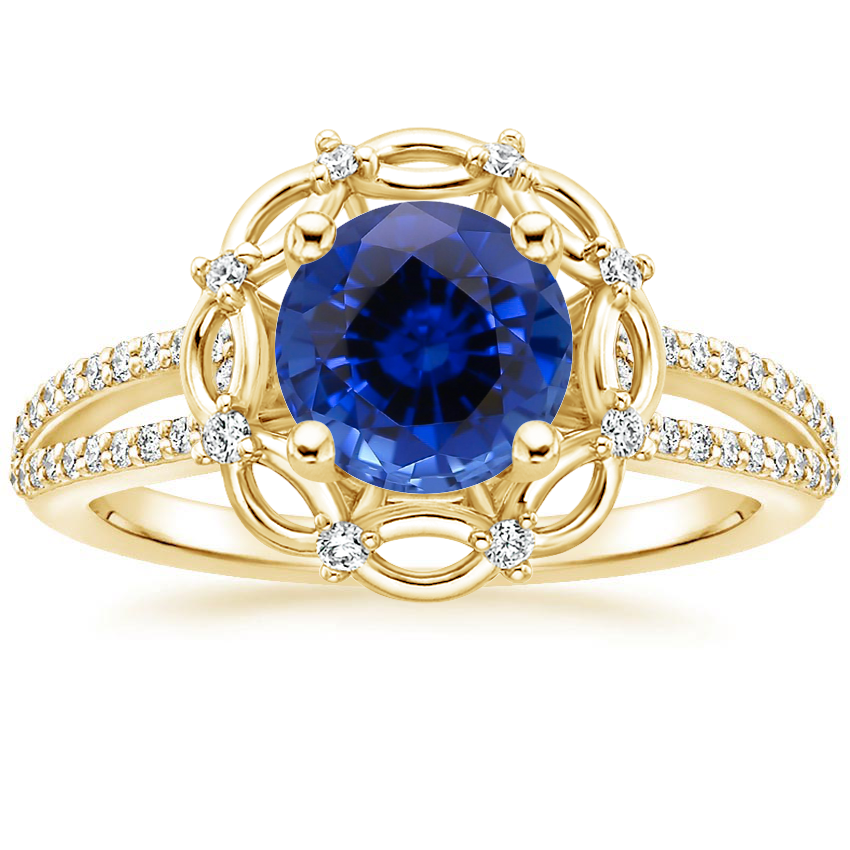 Yellow Gold Sapphire Isabella Diamond Ring