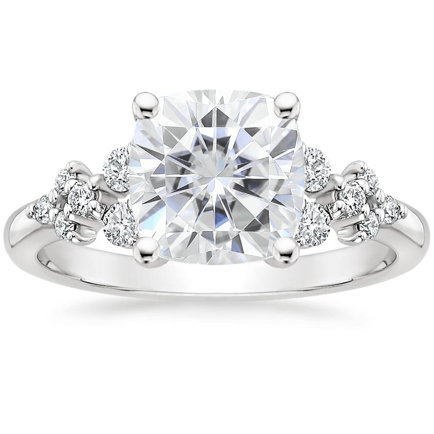 Moissanite Effervescence Diamond Ring in 18K White Gold