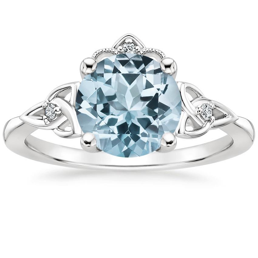 Aquamarine Celtic Crown Diamond Ring in 18K White Gold