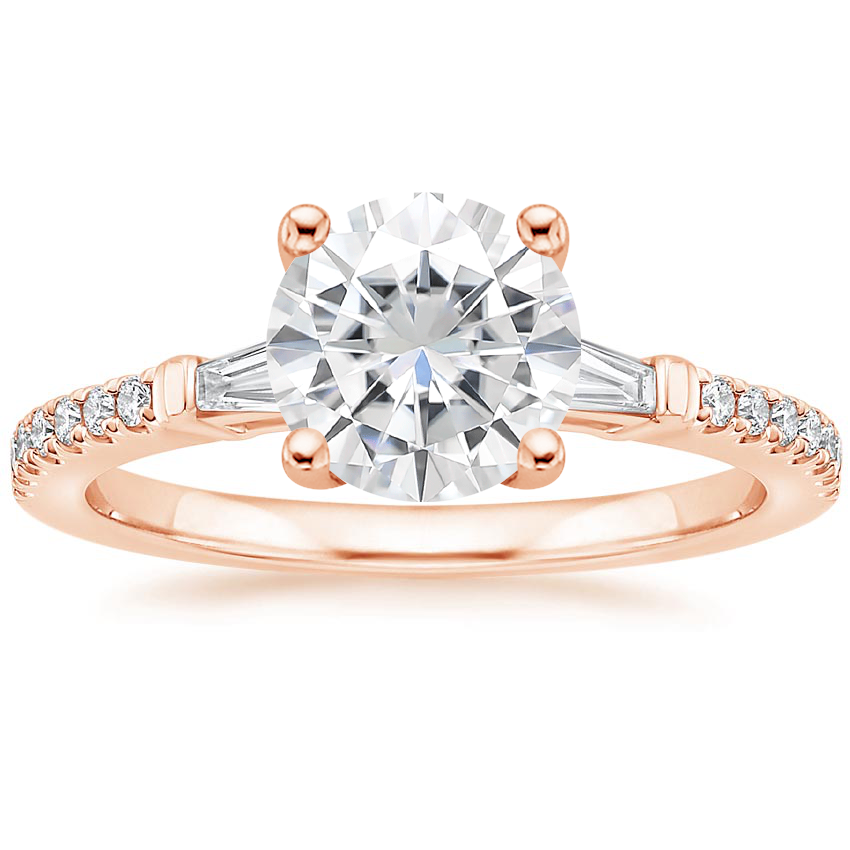 Rose Gold Moissanite Luxe Tapered Baguette Diamond Ring (1/4 ct. tw.)