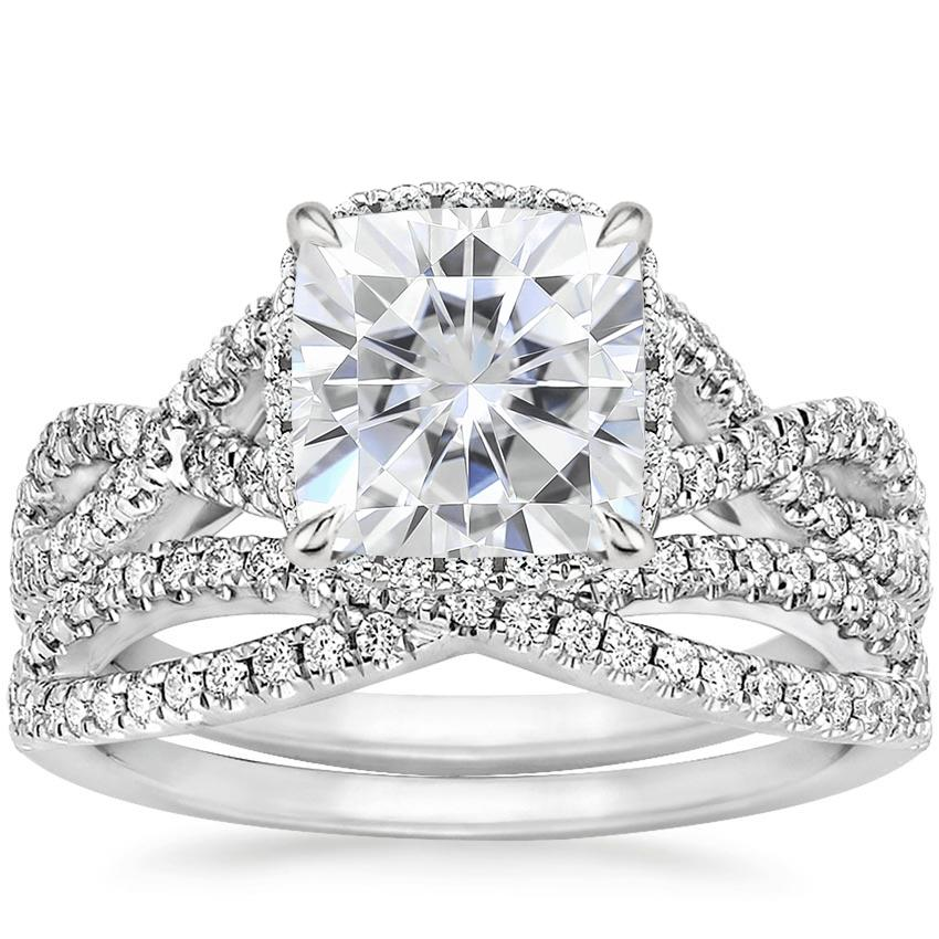 PT Moissanite Entwined Halo Diamond Bridal Set (1/2 ct. tw.), top view