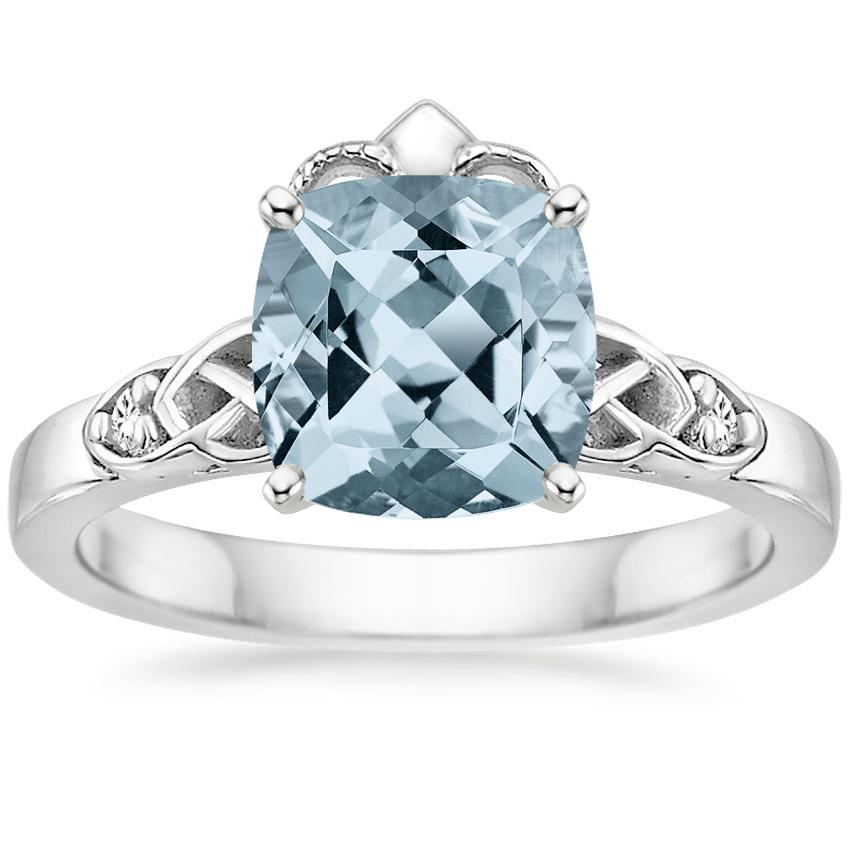 Aquamarine Celtic Claddagh Diamond Ring in Platinum