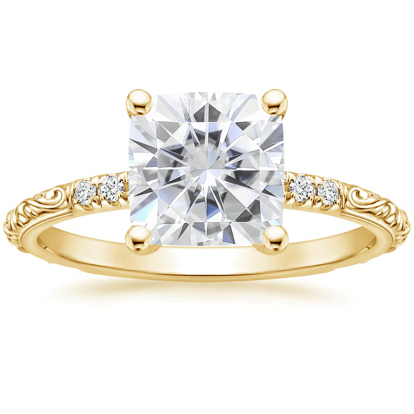 Yellow Gold Moissanite Adeline Diamond Ring